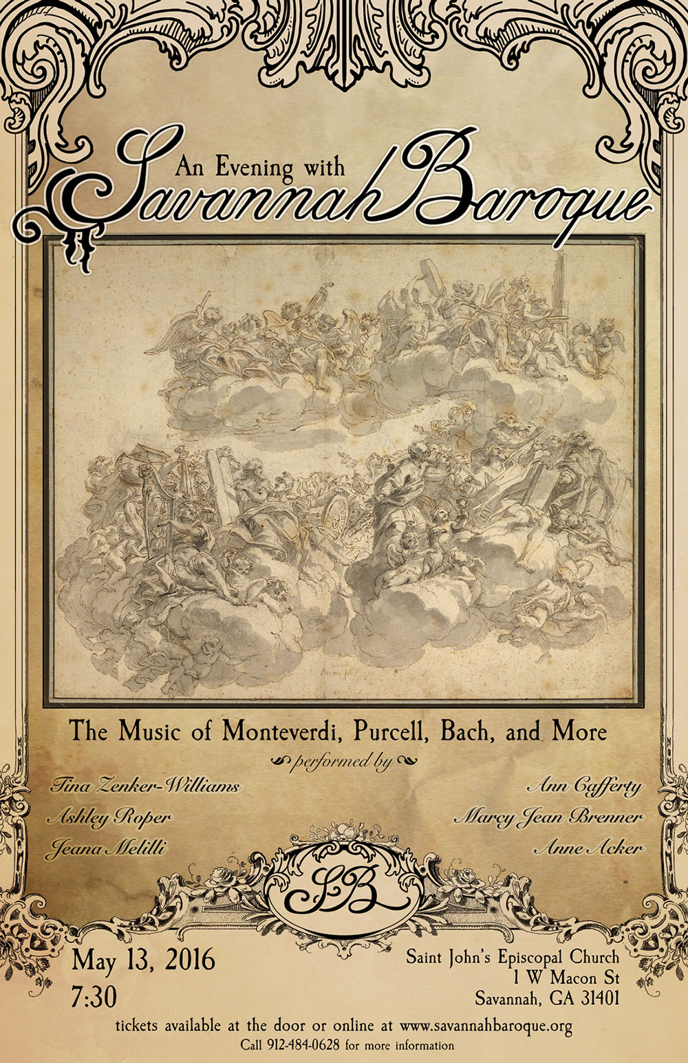 Savannah Baroque May 13, 2016 concert poster